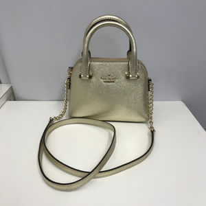 Kate Spade Saffiano Cross Body Bag Gold Leather